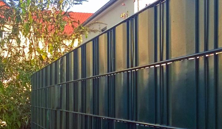 Doppelstabmattenzaun Bauset mit Sichtschutz